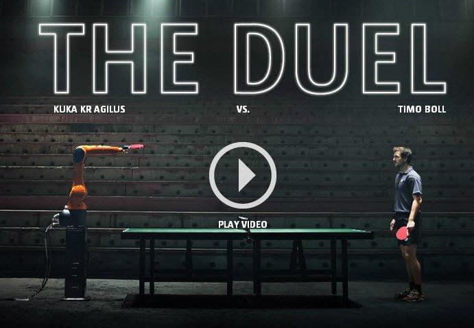 فيديو : مباراة تنس الطاولة بين إنسان و آلة - بطل ألماني في مواجهة روبوت 1