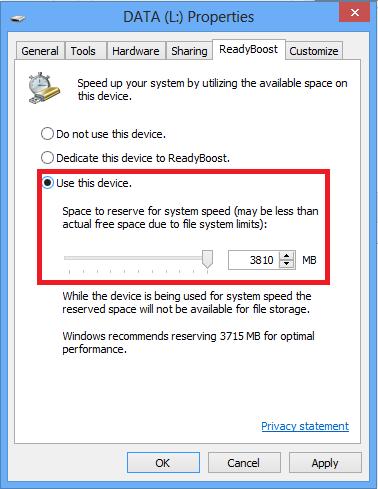 طريقة تسريع الحاسوب باستعمال فلاشة USB بدون برامج ( ReadyBoost ) 2
